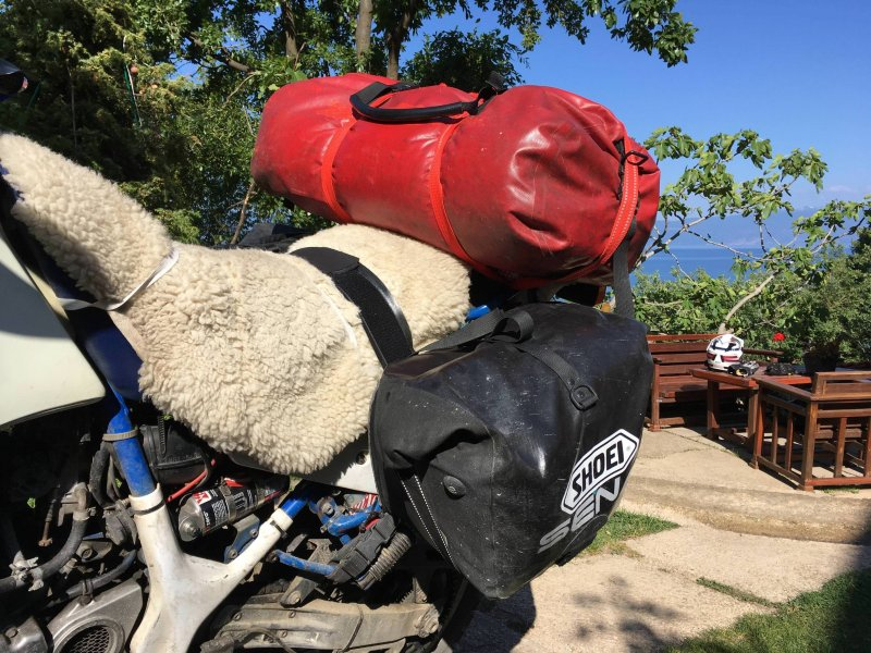 Reisetaschen auf dem Motorrad